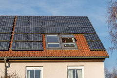 Solar panels. Old building energy re-manufacturing with solar panels Stock Photo