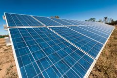 Solar panels on an outback property stock image