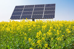 Solar panels over spring landscape Royalty Free Stock Photos