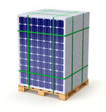 Solar panels on the pallet. Ready for transport - 3D illustration Royalty Free Stock Photography