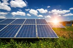 Solar panels, photovoltaic - alternative electricity source. Selective focus, copy space Royalty Free Stock Images
