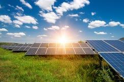 Solar panels, photovoltaic - alternative electricity source. Selective focus, copy space Royalty Free Stock Photos