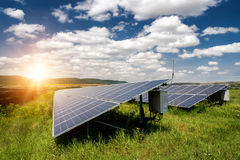 Solar panels, photovoltaic - alternative electricity source. Selective focus, copy space Stock Photos