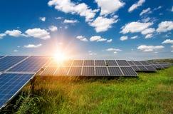 Solar panels, photovoltaic - alternative electricity source. Selective focus, copy space Stock Photo