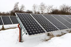 Solar panels, photovoltaic - alternative electricity source. Selective focus, copy space Royalty Free Stock Photography