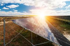 Solar panels, photovoltaic - alternative electricity source. Selective focus, copy space Royalty Free Stock Image