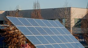 Solar panels. Photovoltaic panels to create industrial energy Royalty Free Stock Photos
