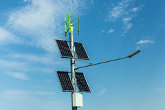 Solar panels on a pole, urban lighting with solar panels, indepe Stock Images