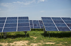 Solar panels. In solar power elecricity Royalty Free Stock Image