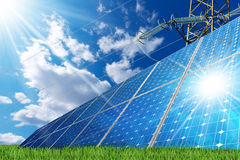 Solar Panels and a Power Line Stock Photo