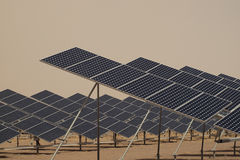 Solar Panels in a Power Plant Stock Image