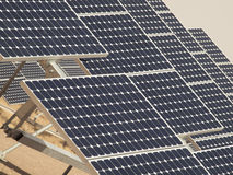 Solar Panels in a Power Plant Royalty Free Stock Photos