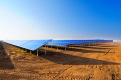 Solar panels for power production Stock Photo