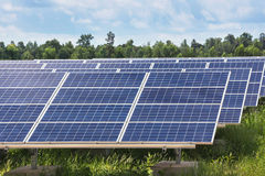 Solar panels in power station Stock Photo