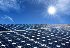 Solar panels produce energy from the sun Stock Photos