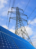 Solar Panels And Pylon Royalty Free Stock Photography