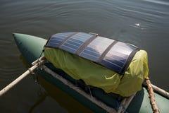 Solar panels on the raft. Royalty Free Stock Photos