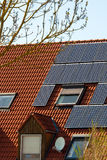 Solar Panels On A Red Roof Royalty Free Stock Image