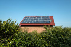 Solar panels on a red roof Royalty Free Stock Photo