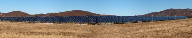 Solar panels for renewable energy. Panorama Royalty Free Stock Photos