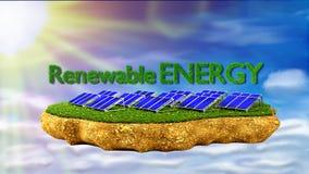 Solar panels renewable energy concept. Solar panels on grass island - renewable energy concept stock photography