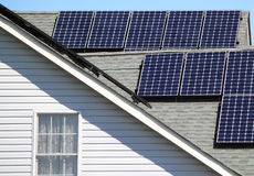 Solar Energy Home. Solar home with solar panels on residential House for saving energy Royalty Free Stock Images