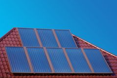Solar panels on roof. Stock Photo