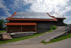 Solar Panels on Roof. Soalr panels on roof of a barn Royalty Free Stock Images