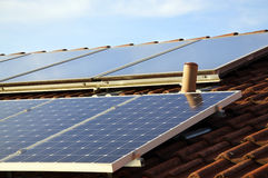 Solar Panels on a Roof Stock Image