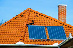 Solar panels. On the roof Stock Images