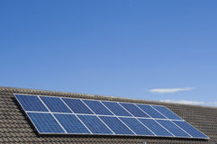 Solar panels. On roof against blue sky Royalty Free Stock Photos