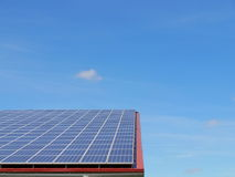 Solar panels on roof. Alternative energy photovoltaic solar panels on roof Royalty Free Stock Image