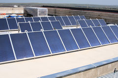 Solar panels on roof boards Stock Image