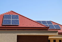 Solar panels on the roof. Of a building Royalty Free Stock Photos