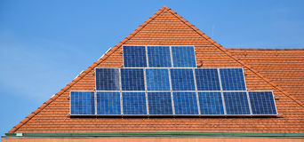Solar panels on the roof. Of a building Stock Photo