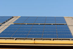 Solar panels on roof of building Stock Photography