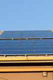 Solar panels on roof of building Stock Image