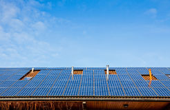 Solar panels on the roof of building Stock Image