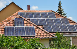 Solar panels on the roof of a building Royalty Free Stock Images