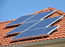 Solar panels on the roof of a building Stock Image