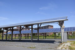 Solar panels on roof of car parking at water campus leeuwarden i Royalty Free Stock Photo