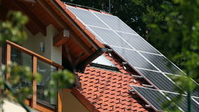 Solar panels on the roof stock footage