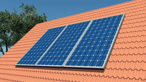 Solar panels on a roof Royalty Free Stock Photo