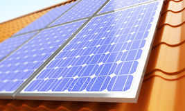 Solar panels on the roof. Royalty Free Stock Photo