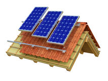 Solar panels roof 3D rendering royalty free stock photo