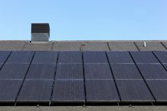 Solar panels on a roof. In Denmark Royalty Free Stock Photography