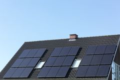 Solar panels on a roof. In Denmark Royalty Free Stock Images