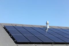 Solar panels on a roof. In Denmark Royalty Free Stock Photo