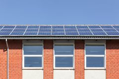 Solar panels on a roof. In Denmark Royalty Free Stock Image