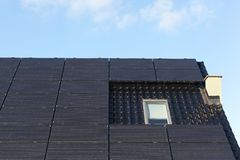 Solar panels on a roof. In Denmark Stock Photo